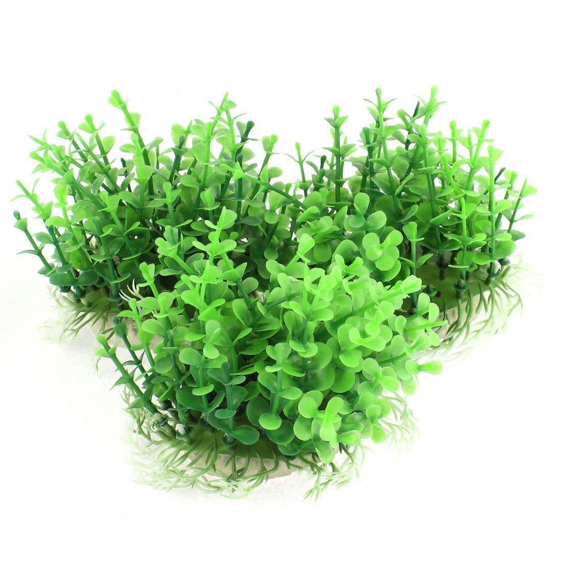 1Pc Ceramic Base Plastic Aquarium Water Plant Grass Decoration 7 in 1 Green Dark Red