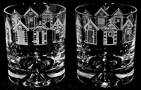 Diseño de casetas de playa friso transparente~de agua vaso de Whisky de cristal (