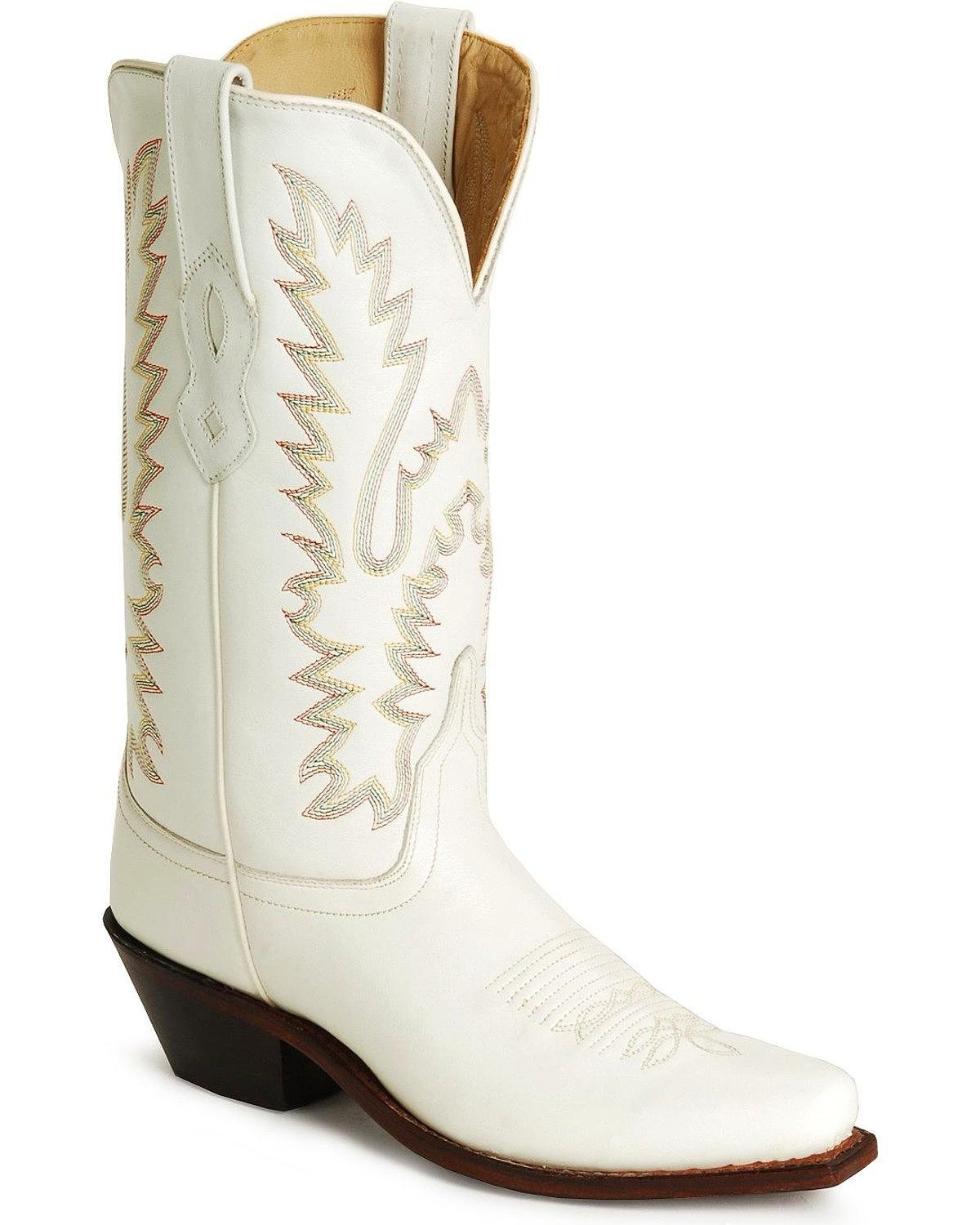 Old West Ladies Leather Fashion Cowgirl Boots B00FHZ9NGU 6.5 B(M) US|White