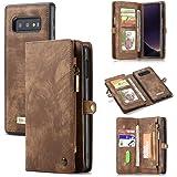 AKHVRS Galaxy S10 Plus Wallet Case,Handmade Premium Cowhide Leather Wallet Case,Zipper Wallet Case [Magnetic Closure] Detacha