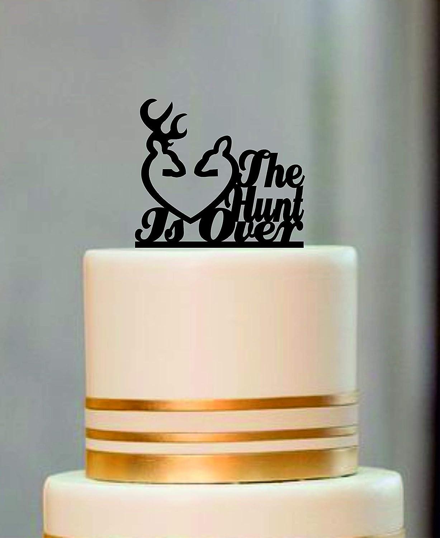 Incredible Wedding Cake Topper Rustic The Hunt Is Over Deer Wedding Cake Funny Birthday Cards Online Alyptdamsfinfo