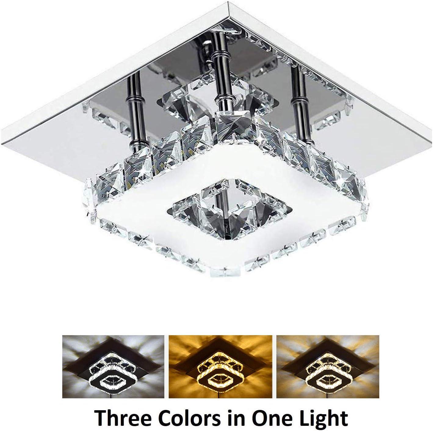 Ganeed Crystal Ceiling Light,11W LED Flush Mount Ceiling Light, Modern  Square Mini Chandelier for Dining Room Living Room Bedroom Hallway(11.11