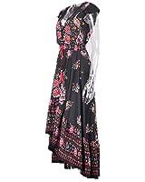 Eloise Isabel Fashion dress sexy v neck floral do vintage impressão elegante maxi dress mulheres vestido