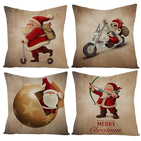 Gspirit Navidad Cojines Sofas 4 Pack algodón Lino Funda Cojines Funda de Almohada para Cojín 45x45 cm(4)
