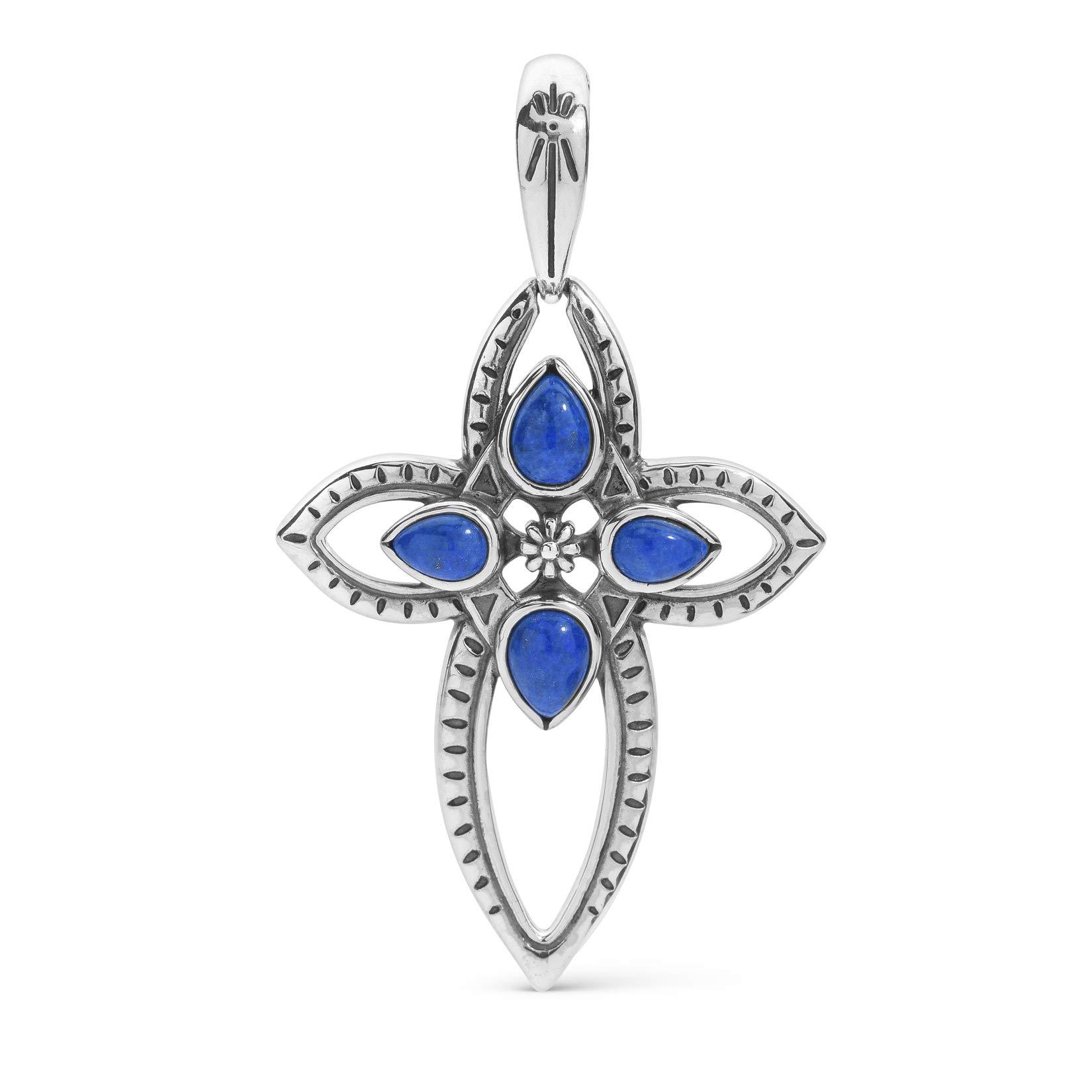 American West Sterling Silver Blue Lapis Gemstone Cross Pendant Enhancer by American West Jewelry