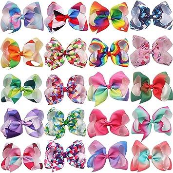 Girls Large Rhinestone Grosgrain Ribbon Hair Bow Clip Accessories 6 Colors