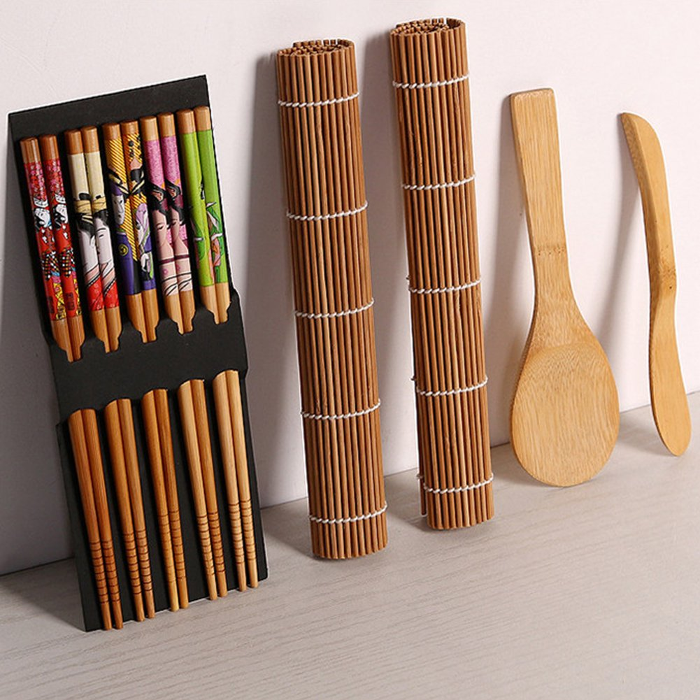 Ocamo Complete Bamboo Sushi Making Kit 2 Rolling Mats & 1 Spoon & 1 Spreader & 5 Pairs of Chopsticks Kitchen Accessories