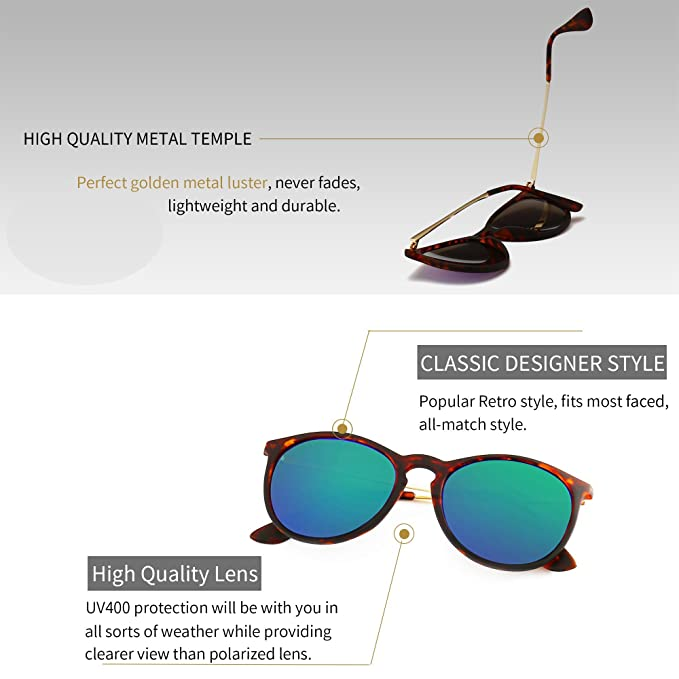 147f3ab653 Amazon.com  SUNGAIT Vintage Round Sunglasses for Women Classic Retro  Designer Style (Amber Frame Green Lens)  Clothing