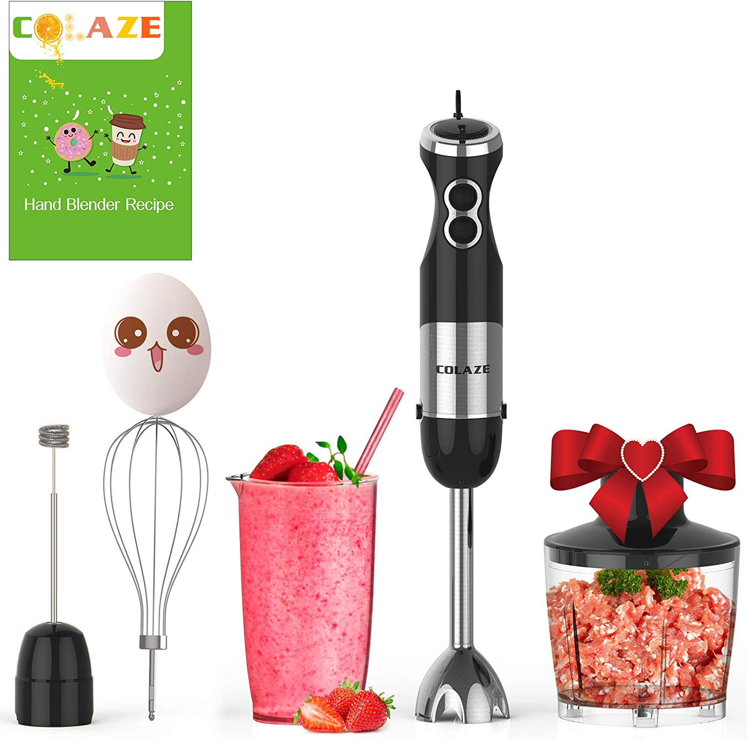 Immersion Hand Blender, COLAZE【5-in-1】800W Powerful 12 Speed Control Multifunctional Electric Handheld Stick Blender with Stainless Steel Blades, 500ml Chopper, 600ml Container, Egg Whisk, Milk Frother Attachments for Sauces, Smoothies, Soups and Baby Food, BPA-Free
