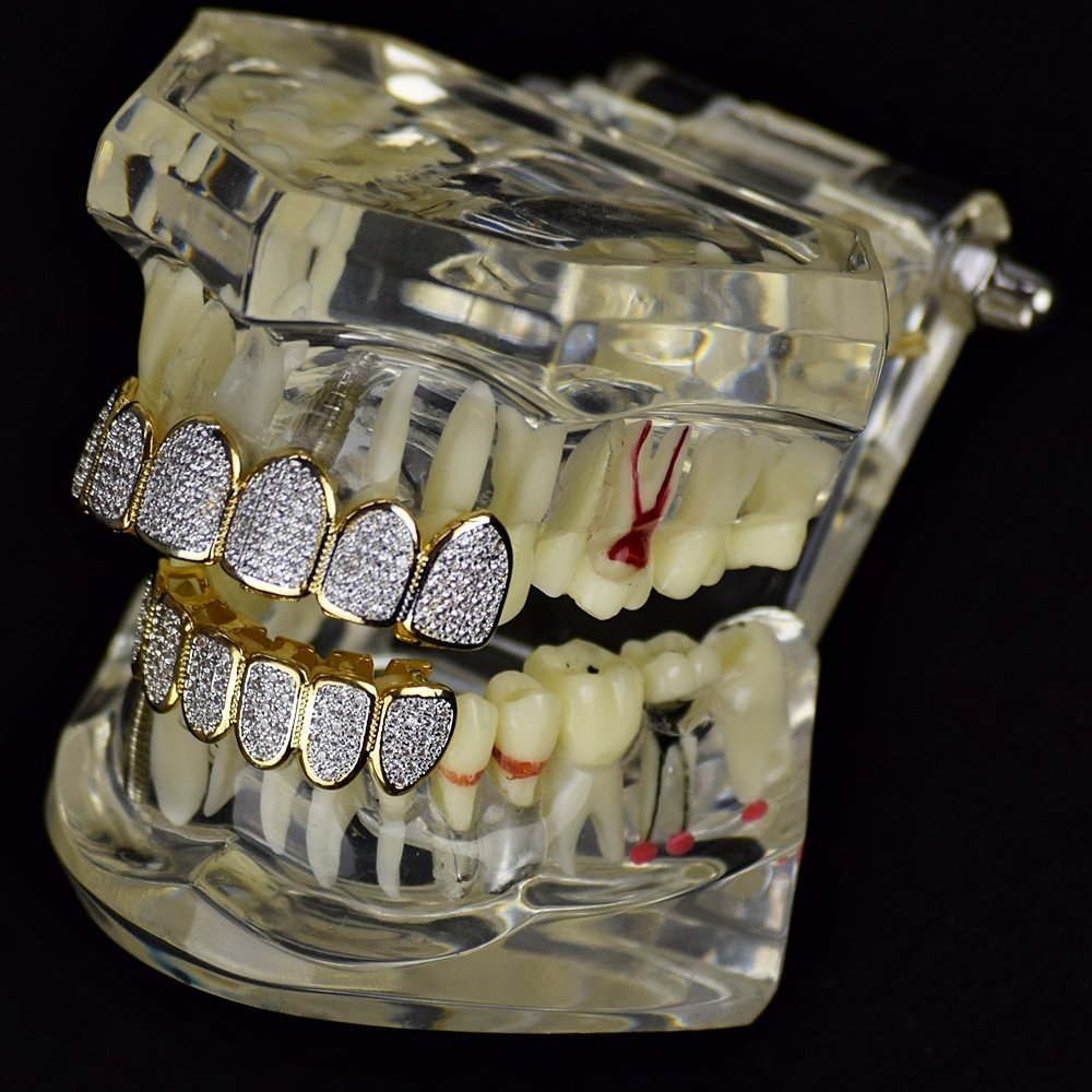 Premium CZ Grillz Set 2-Tone 14K Gold Plated with Silver Finish Bling Cubic Zirconia Teeth Hip Hop Grills by Bling Cartel (Image #4)