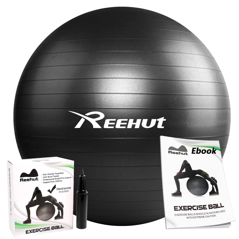 REEHUT Anti-Burst Core Exercise Ball w/Pump & Manual for Yoga, Workout, Fitness (Black, 85cm)