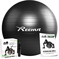 Reehut Anti-Burst Core Exercise Ball with Pump & Manual for Yoga, Balance, Workout, Fitness- 45cm 55cm 65cm 75cm 85cm
