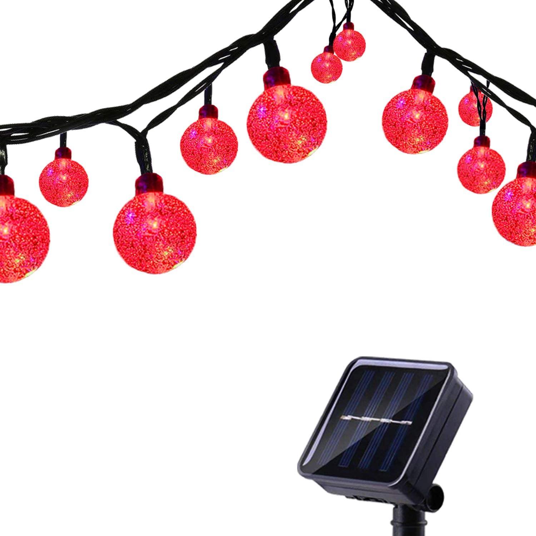 Tuokay 6M Cadena de Luces Solares 8 Modos Impermeables 30 LED Guirnalda de Energía Solar para Árbol de Navidad, Patio, Jardín, Terraza y Todas las Decoraciones con Diseño de Bolas de Cristal (Rojo)