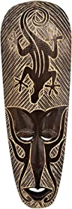 Gorgeous Unique Hand Chiseled Wood African Style Wall Decor Mask With Gecko Design!