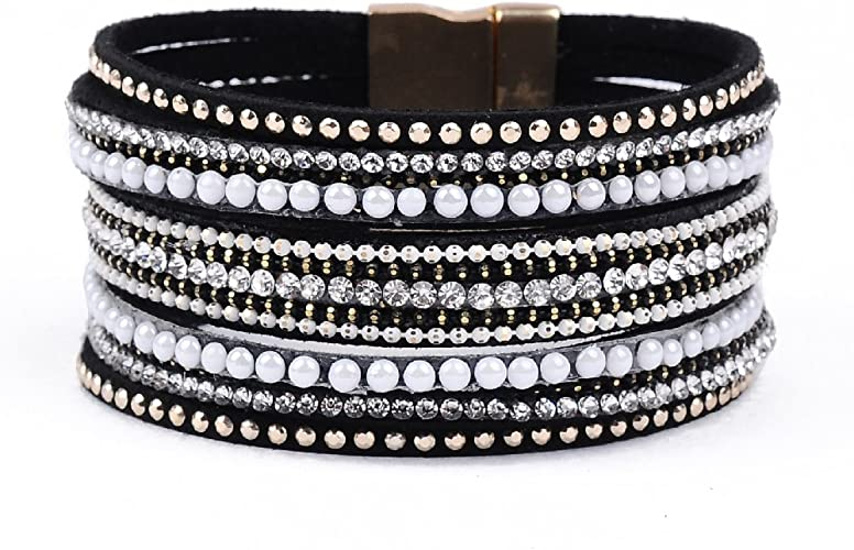 WB.S Bracelet,Cuff,Magnetic,Black,Silver..Crystals Magnetic Clasp Cuff Bracelet