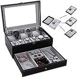 BEWISHOME Watch Box Organizer Case Display 12 Men Jewelry Box Tray Drawer Black PU Leather Glass Top - w/ Adjustable Tray SSH02B