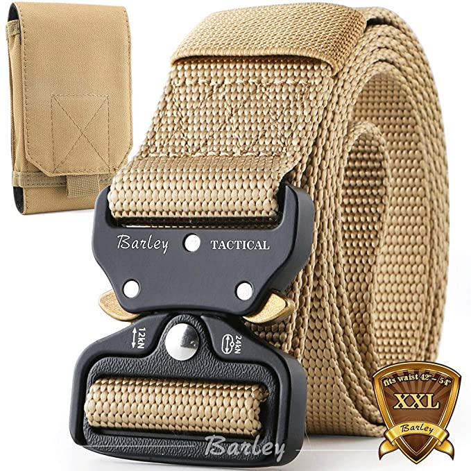 125 cm 1 pack Fibbia in Metallo a Sgancio Rapido e 1 pack Fibbia Plastica Justay 2 Pacchi Cintura Uomo Tattica Cinta Militare Tela Regolabile