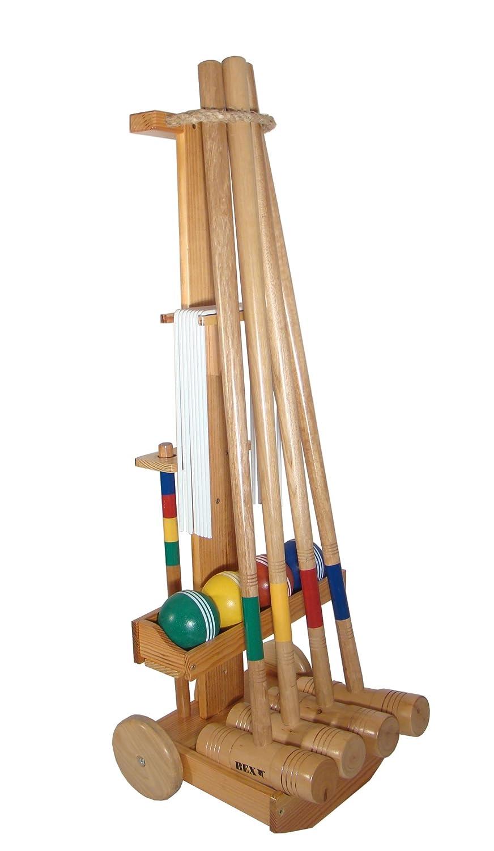 Bex Krocket-Set mit 4 Schlägern und Transportkarren, Braun