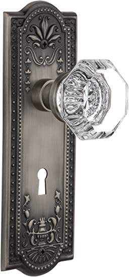 Privacy Nostalgic Warehouse Meadows Plate with Keyhole Deco Knob 2.75 Antique Pewter