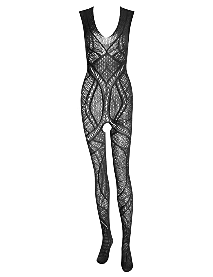 1846bcff85b Amazon.com  Honney Fishnet Bodystocking Lingerie One Piece Bodysuit Plus  Size Lingerie Tight for Women  Clothing