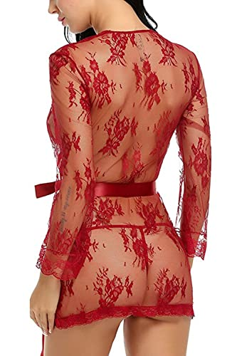 Manga larga de encaje blusa transparente camisón de la mujer