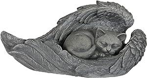 Exhart Sleeping Kitten in Angel Wings Memorial Statue - Hand-Painted Resin Statue of Cat Sleeping Inside Angel Wings - Pet Tombstone Garden Decor - Best as Memorial Marker for Deceased Pet Cat