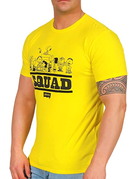 LEVI'S x Peanuts Uomo T Shirt in cotone giallo con mini