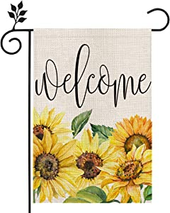 CROWNED BEAUTY Summer Floral Sunflower Welcome Garden Flag 12×18 Inch Double Sided Vertical Yard Outdoor Décor CF186-12