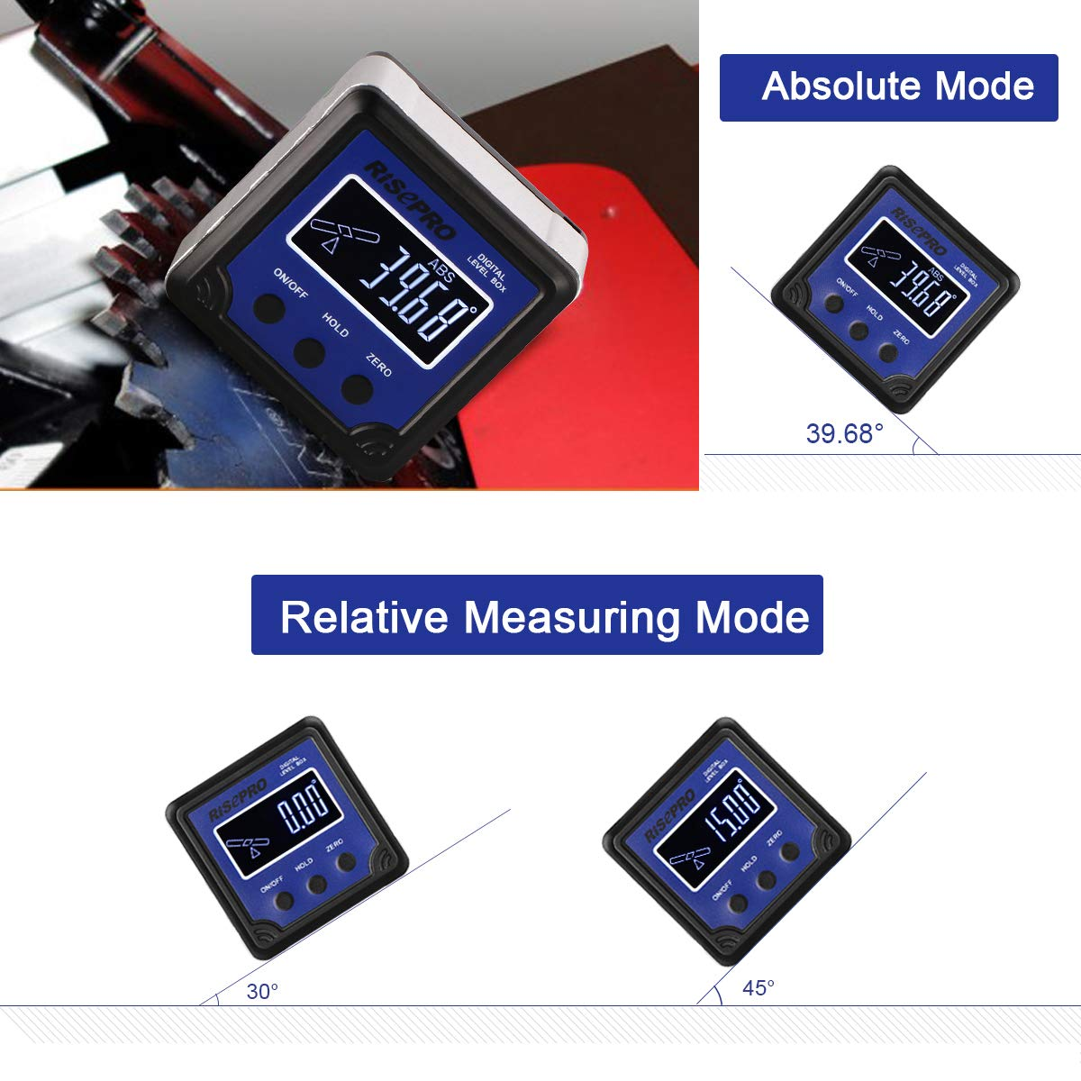 Automobile RISEPRO Digital Level Box Angle Gauge Protractor Inclinometer Bevel Box with Data Hold Calculating for Carpentry Masonry Building Magnet Base /& VA LCD Backlight