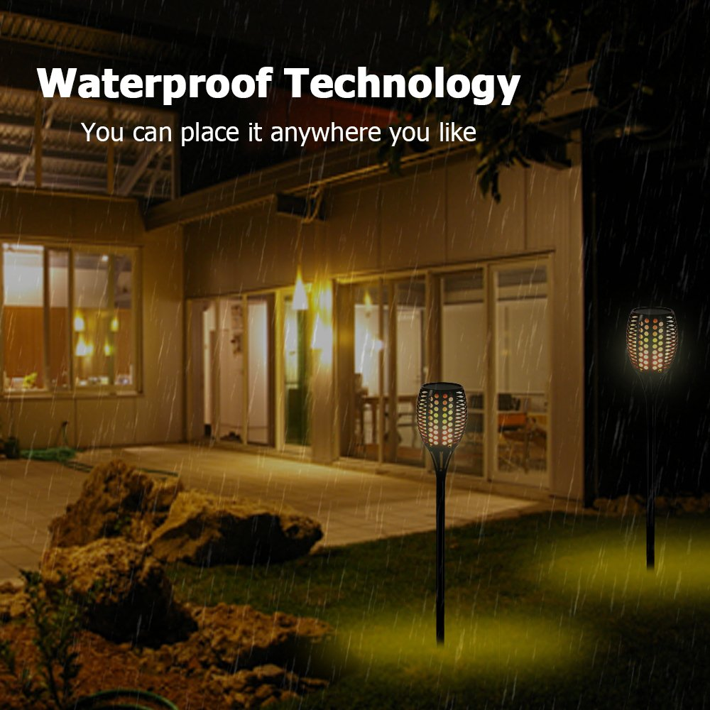 Solar Tiki Light By Kshioe,96LED Waterproof Flickering Flames Torches Lights Outdoor Landscape Decoration Lighting Dusk to Dawn Auto On/Off Security Path Light for Garden Patio Deck Yard Driveway (8) by Kshioe (Image #5)