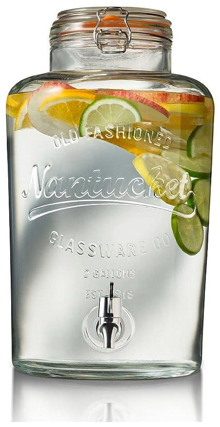 Circleware Nantucket vidrio Bebidas Dispensador de bebida con tapa hermético cierre, 2 L, transparente