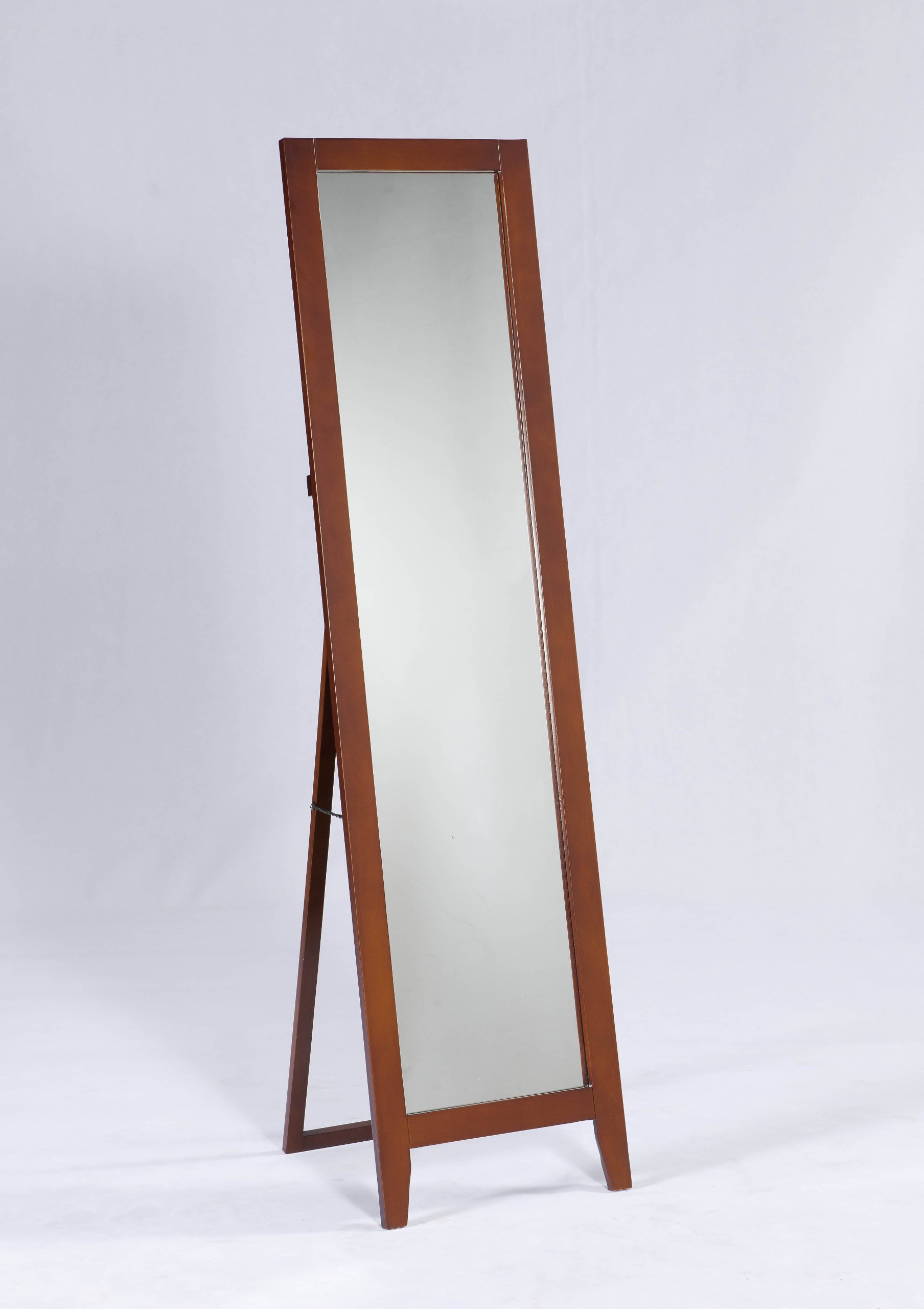 King's Brand Brown Finish Wood Frame Floor Standing Mirror