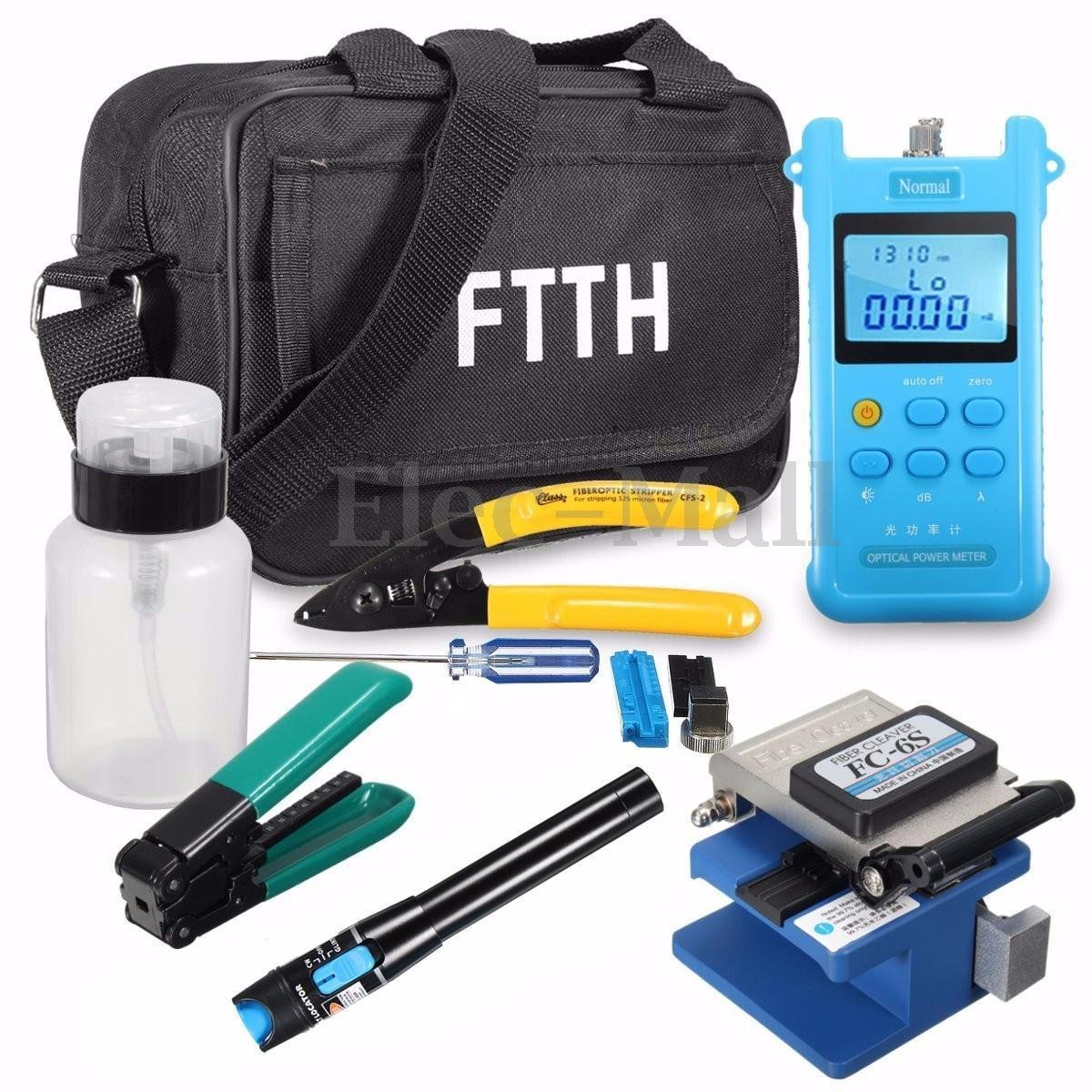Fiber Optic FTTH Tool Kit FC-6S Fiber Cleaver Power Meter Visual Finder Locator by Unknown