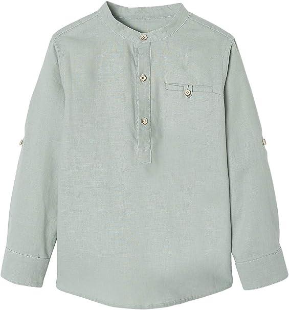 VERTBAUDET Camisa de Lino/algodón para niño con Cuello Mao, de Manga Larga Verde Medio Liso 10A: Amazon.es: Ropa y accesorios