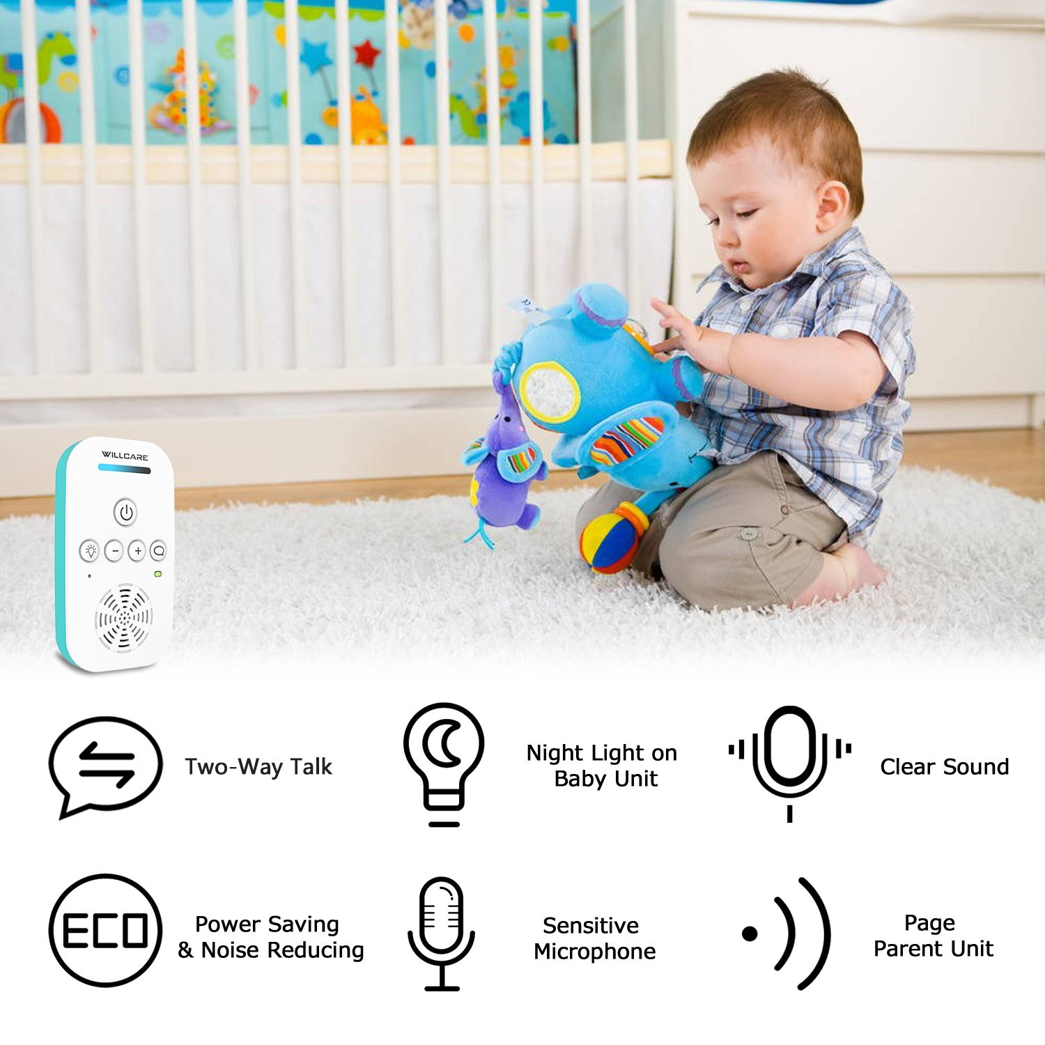 willcare upgraded baby monitor with two way audio smooth night