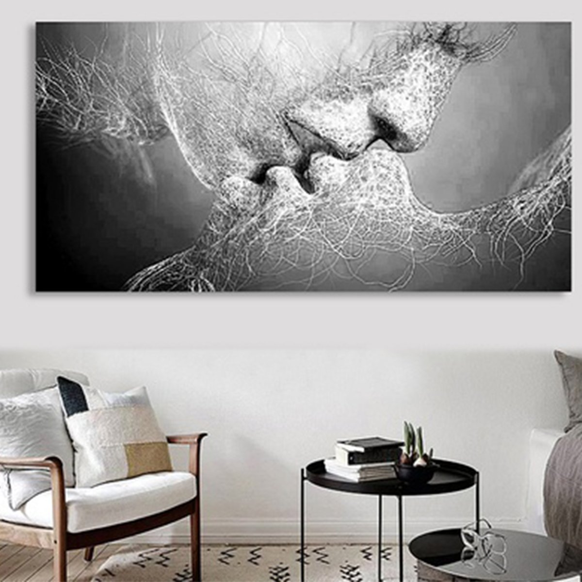 "40""x 24"" Modern Black & White Love Kiss Wall Art Abstract Art Canvas Painting Picture Print Home Bedroom Wall Decor (Unframed)"