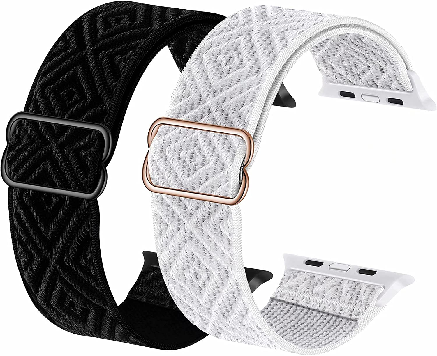 2-Pack ADWLOF Stretchy Solo Loop Strap Compatible with Apple Watch Bands 42mm 44mm,Diamond Sport Elastics Nylon Adjustable Stretch Braided for iWatch Series 6/5/4/3/2/1 SE Women Men,Black&White