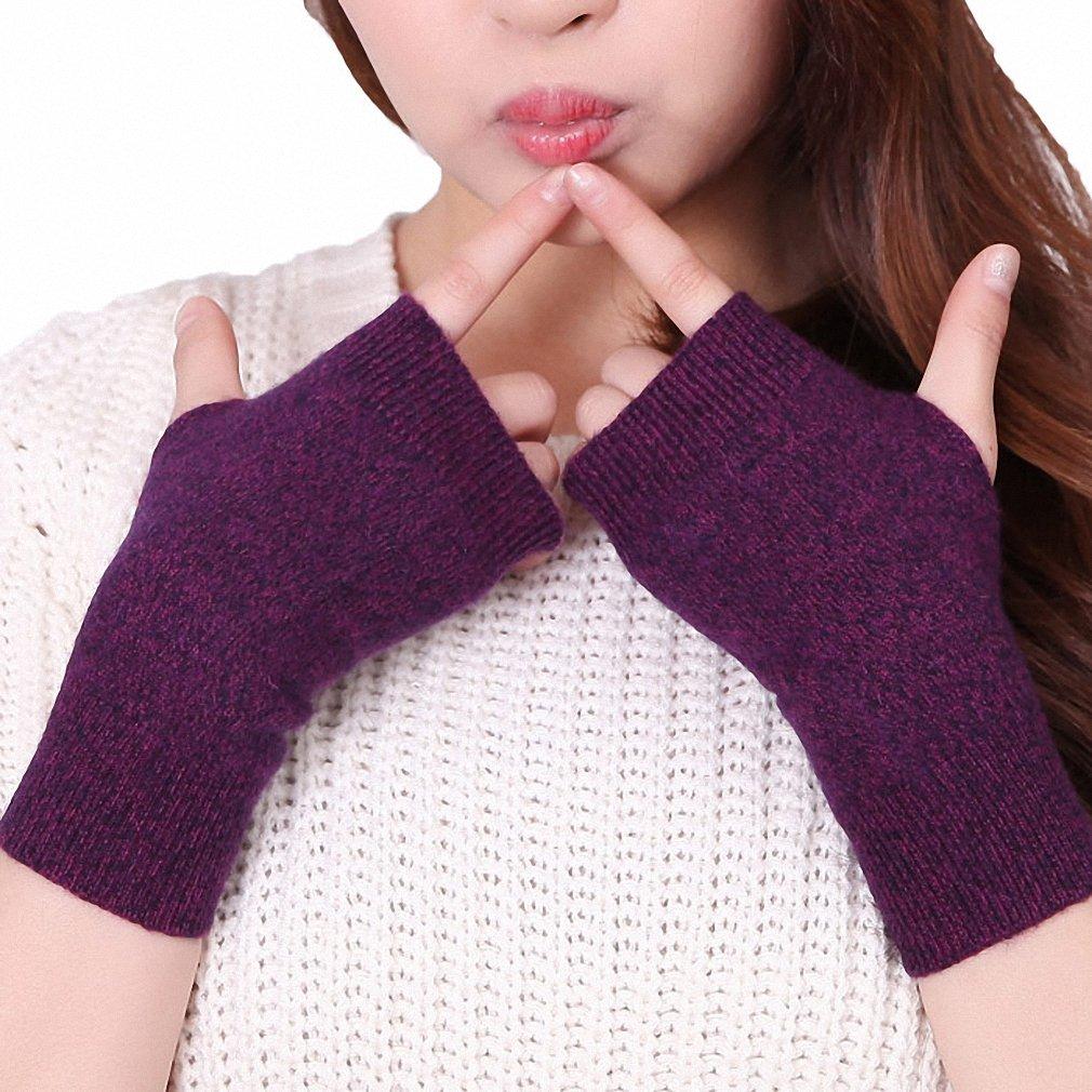 Genuine Fine Sheep Wool Mitt Exposed Finger Women's Gloves Winter Autumn Knitted For Women Fingerless Gloves Wrist Mittens 07 Hthr Purple