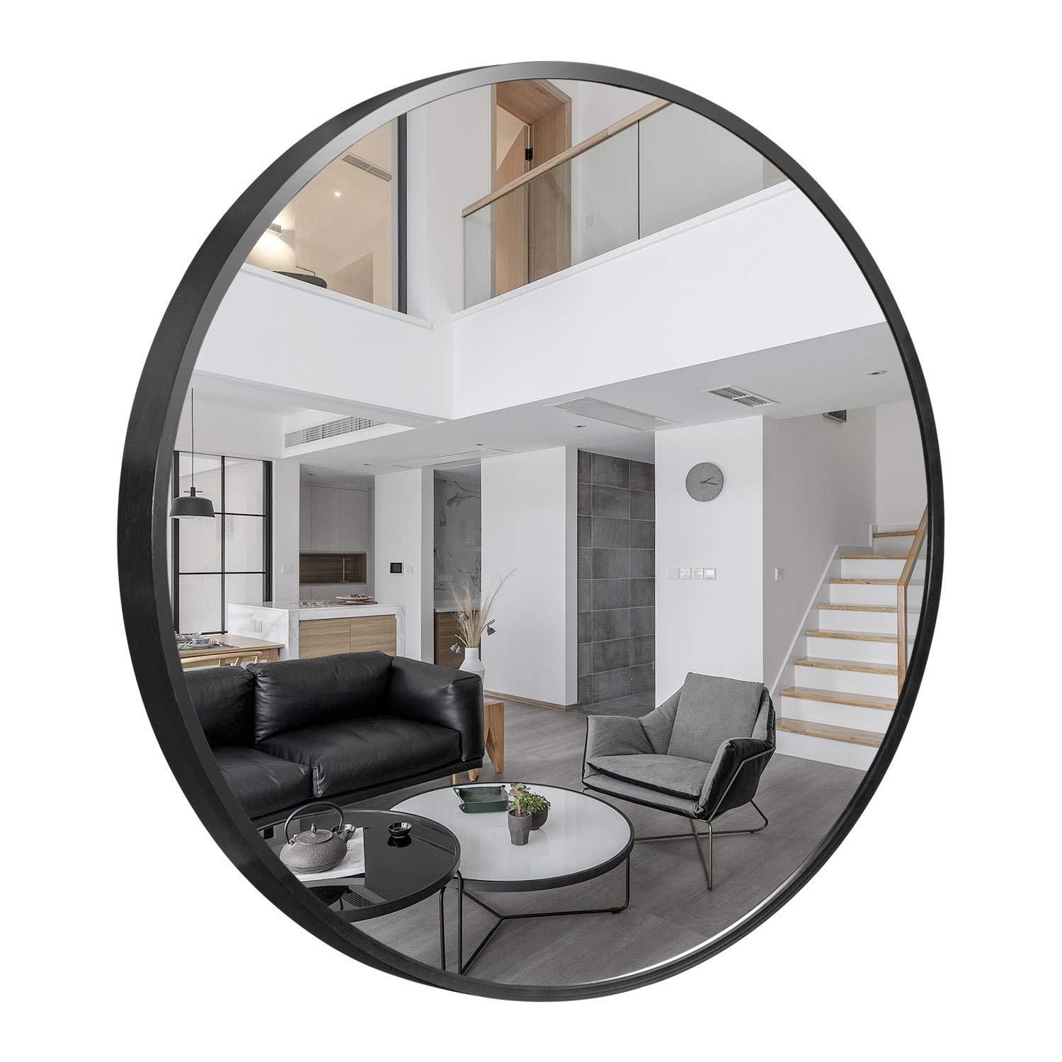Buy Self Round Wall Mirror 20 Large Wall Mounted Mirror Aluminum Alloy Frame Round Mirror For Bathroom Entry Dining Room Living Room Black Online At Low Prices In India Amazon In