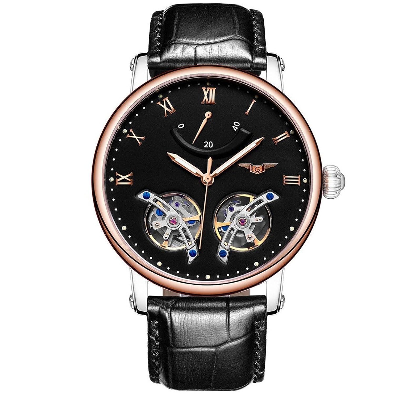GUANQIN Analog Uhr Herren Automatik Mechanische Edelstahl und Leder Armbanduhr Gold Schwarz