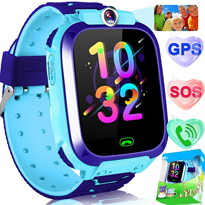"""Kids Smart Watch Phone GPS Tracker Watch for Girls Boys Valentine Day Gift 1.5"""" Touchscreen Child Smart Watches with Flashlight SOS Anti-Lost SIM Card Slot Camera Alarm Clock Holiday Toy"""
