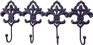 Lulu Decor, Cast Iron Fleur De Lis Key Hooks, Decorative Wall Hook, 4 Hooks to Hang Keys, Apron, Towel (Antique Black)