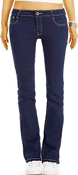bestyledberlin Damen Schlaghose, Ausgestellte Slim Fit Jeans, Hüftige Boot Cut Jeans j10l