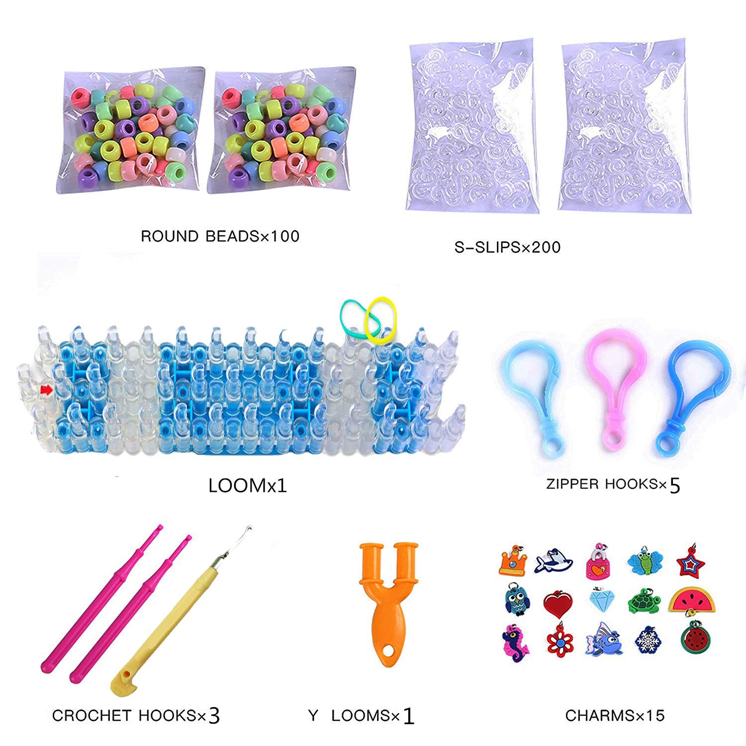 Rainbow Color Loom RubberBands Kit Colorful Bands Refill Bracelet Making Set Including6800 Pcs Rubber Loom Bands 200 Pcs Slips 100 Beads 15 Charms 8 Tools More for DIYWeaving Crafting by Bomach (Image #2)