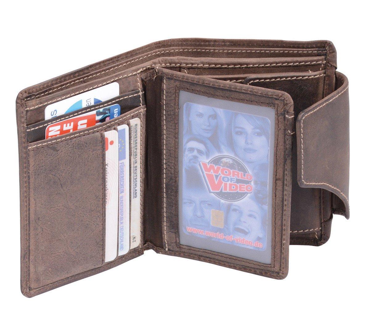 Cartera para señores Monedero para señoras Vintage Style (incluyendo LEAS-regalo caja) LEAS, Piel auténtica, marrón - LEAS Vintage-Collection: ...