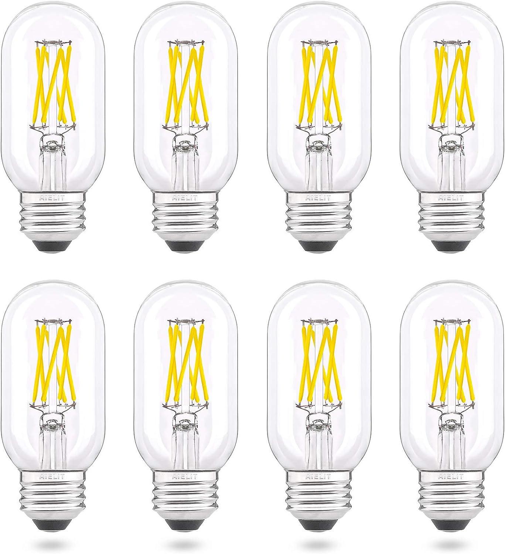 Dimmable E26 Light Bulbs 60 Watt Equivalent, Clear Bright White 5000K, AIELIT 6W Tube T45/T14 LED Bulbs for Office School Restaurant Glass Mason Jars Ceiling Fan Hanging Pendant Lamp Chandelier, 8 Pcs