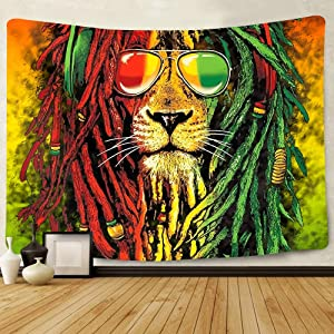 Simsant Rasta Rastafarian Tapestry Lion Head Bob Tapestry Wall Hanging Backdrop for Living Room Bedroom Dorm Psychedelic Decor Tapestry SIZY0596