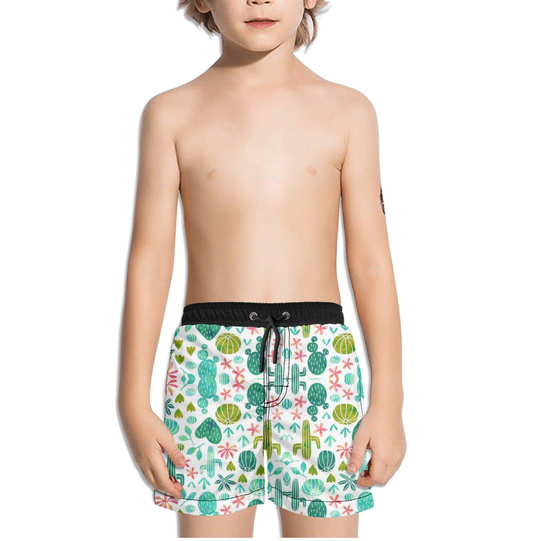 Ouxioaz Boys Swim Trunk Watercolor Cactus Cacti Beach Board Shorts