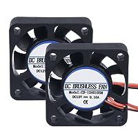 Ventilador de refrigeración PopPprinter de 40 x 40x 10 mm, 12 V CC, 2pines, sin escobillas, mini, para impresora 3D (paquete de 2), 40*40*10mm, 2