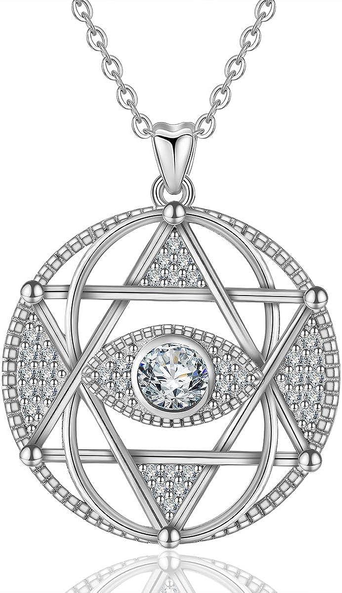 INFUSEU Collar Mujer Plata de Ley 925 Mamá Corazón Celtic Knot The Evil Eye Colgante con para Regalo San Valentín Originales Cadena 46cm Longitud